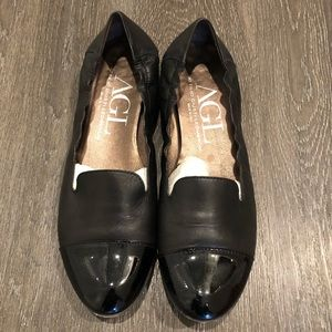 AGL Black Cap Toe Leather Loafers — Size 41.5